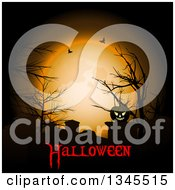 Clipart Of A Lit Jackolantern Pumpkin In A Cemetery Against An Orange Full Moon With Bare Trees Bats And Halloween Text Royalty Free Vector Illustration