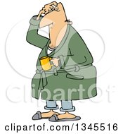Clipart Of A Cartoon Chubby White Man In His Robe Scratching His Head And Holding A Coffee Mug Royalty Free Vector Illustration