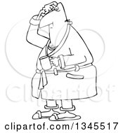 Outline Clipart Of A Cartoon Black And White Chubby Man In His Robe Scratching His Head And Holding A Coffee Mug Royalty Free Lineart Vector Illustration