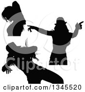 Clipart Of Black Silhouetted Party Women Dancing 3 Royalty Free Vector Illustration