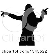 Clipart Of A Black Silhouetted Party Woman Dancing 9 Royalty Free Vector Illustration