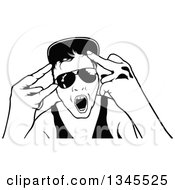 Black And White Dancing Young Man Wearing Sunglasses And Doing Hand Gestures At A Party