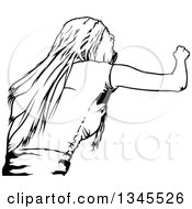 Clipart Of A Black And White Party Woman Rear View Royalty Free Vector Illustration
