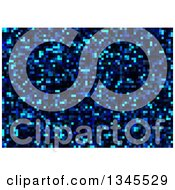 Clipart Of A Pixelated Blue Mosaic Background Royalty Free Vector Illustration