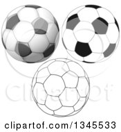 Clipart Of Black And White Outline And Grayscale Soccer Balls Royalty Free Vector Illustration by Liron Peer