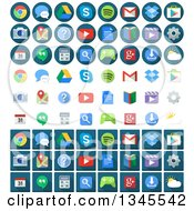 Clipart Of Round Square And Simple Android Application Icons Royalty Free Vector Illustration