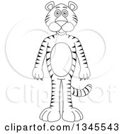 Clipart Of A Cartoon Black And White Outline Standing Tiger Royalty Free Vector Illustration