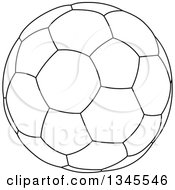 Clipart Of A Black And White Outline Soccer Ball Royalty Free Vector Illustration by Liron Peer