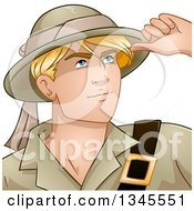 Clipart Of A Cartoon Handsome Young Blond Caucasian Male Explorer Looking Up Royalty Free Vector Illustration