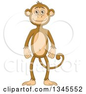 Clipart Of A Cartoon Standing Monkey Royalty Free Vector Illustration