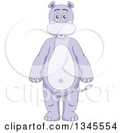 Clipart Of A Cartoon Standing Purple Hippo Royalty Free Vector Illustration