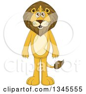Clipart Of A Cartoon Standing Male Lion Royalty Free Vector Illustration