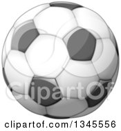 Clipart Of A Shiny Grayscale Soccer Ball Royalty Free Vector Illustration by Liron Peer