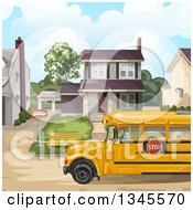 Clipart Of A School Bus In Front Of A House Royalty Free Vector Illustration