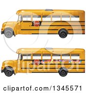 Profiled Yellow School Buses One With Party Balloons