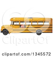 Clipart Of A Profiled Yellow School Bus Royalty Free Vector Illustration
