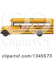 Clipart Of A Profiled Yellow School Bus With Party Balloons Royalty Free Vector Illustration