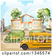 Clipart Of A School Bus In Front Of A Building Royalty Free Vector Illustration