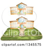 Clipart Of School Building Facades Royalty Free Vector Illustration