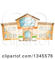 Clipart Of A School Building Facade Royalty Free Vector Illustration by merlinul