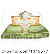 Clipart Of A School Building Facade And Lawn Royalty Free Vector Illustration