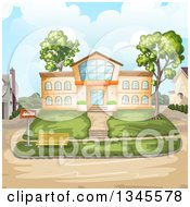 Clipart Of A Bus Stop In Front Of A School Building Royalty Free Vector Illustration