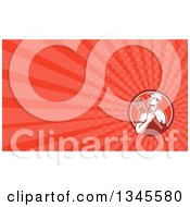 Clipart Of A Retro Male Plumber Holding A Monkey Wrench In A Circle And Red Rays Background Or Business Card Design Royalty Free Illustration