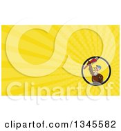 Clipart Of A Cartoon Turkey Bird Plumber Worker Man Wearing A Baseball Cap And Holding Up A Monkey Wrench And Yellow Rays Background Or Business Card Design Royalty Free Illustration by patrimonio
