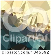 Clipart Of A Low Poly Abstract Geometric Background Of Ecru Brown Blue Royalty Free Vector Illustration