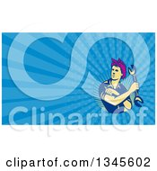 Clipart Of A Retro Female Auto Mechanic Flexing And Holding A Wrench And Blue Rays Background Or Business Card Design Royalty Free Illustration