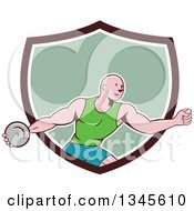 Clipart Of A Retro Cartoon Bald Male Athlete Throwing A Discus Emerging From A Brown White And Green Shield Royalty Free Vector Illustration