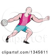 Clipart Of A Retro Cartoon Bald Male Athlete Throwing A Discus Royalty Free Vector Illustration