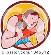 Clipart Of A Retro Cartoon Male Athlete Throwing A Shotput In A Brown White And Yellow Circle Royalty Free Vector Illustration