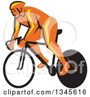 Clipart Of A Retro Orange Cyclst Racing A Bicycle Royalty Free Vector Illustration