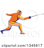 Clipart Of A Retro Orange Yellow And Blue Man Fencing Royalty Free Vector Illustration