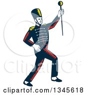 Retro Woodcut Marching Band Drum Major Holding Up A Baton