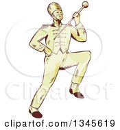 Retro Sketched Or Engraved Marching Band Drum Major Holding Up A Baton