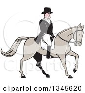 Clipart Of A Cartoon Male Equestrian In A Top Hat Riding A Horse Royalty Free Vector Illustration