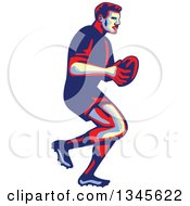 Clipart Of A Retro Male Rugby Player Athlete Running With The Ball Royalty Free Vector Illustration by patrimonio