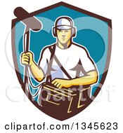 Clipart Of A Retro White Male Film Crew Sound Man In A Shield Royalty Free Vector Illustration