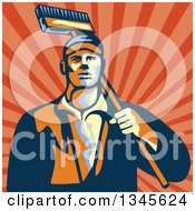 Clipart Of A Retro Street Cleaner Man With A Broom Over Rays Royalty Free Vector Illustration