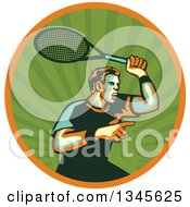 Clipart Of A Retro Male Tennis Player Athlete Pointing And Holding Up A Racket In A Green Ray And Orange Circle Royalty Free Vector Illustration