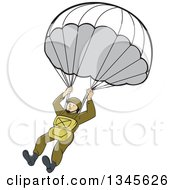 Clipart Of A Cartoon Ww2 American Paratrooper Soldier Royalty Free Vector Illustration