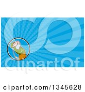 Clipart Of A Cartoon White Male Golfer Swinging And Blue Rays Background Or Business Card Design Royalty Free Illustration by patrimonio