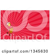 Clipart Of A Cartoon White Male Golfer Swinging And Pink Rays Background Or Business Card Design Royalty Free Illustration