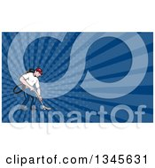 Clipart Of A Cartoon White Male Janitor Worker Vacuuming And Dark Blue Rays Background Or Business Card Design Royalty Free Illustration by patrimonio