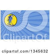 Clipart Of A Cartoon White Male Janitor Worker Vacuuming In A Circle And Blue Rays Background Or Business Card Design Royalty Free Illustration by patrimonio