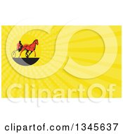 Clipart Of A Retro Red Man Horse Harness Racing And Yellow Rays Background Or Business Card Design Royalty Free Illustration