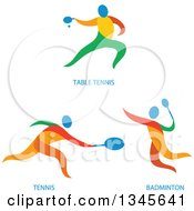 Clipart Of Colorful Ping Pong Tennis And Bandminto Athletes Royalty Free Vector Illustration