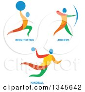 Clipart Of Colorful Weightlifting Archery And Handball Athletes Royalty Free Vector Illustration